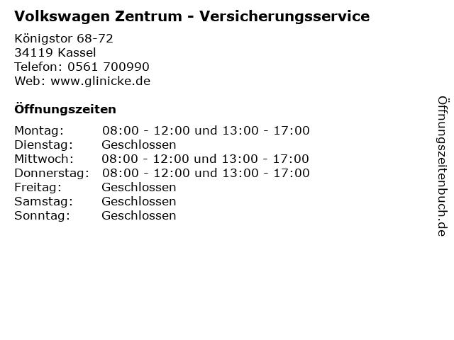 Volkswagen Zentrum - Versicherungsservice in Kassel: Adresse und Öffnungszeiten