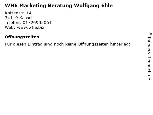 WHE Marketing Beratung Wolfgang Ehle in Kassel: Adresse und Öffnungszeiten
