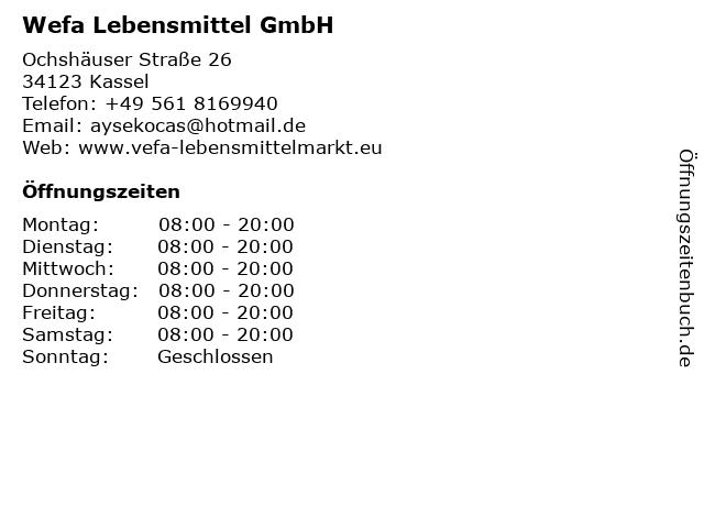 Wefa Lebensmittel GmbH in Kassel: Adresse und Öffnungszeiten