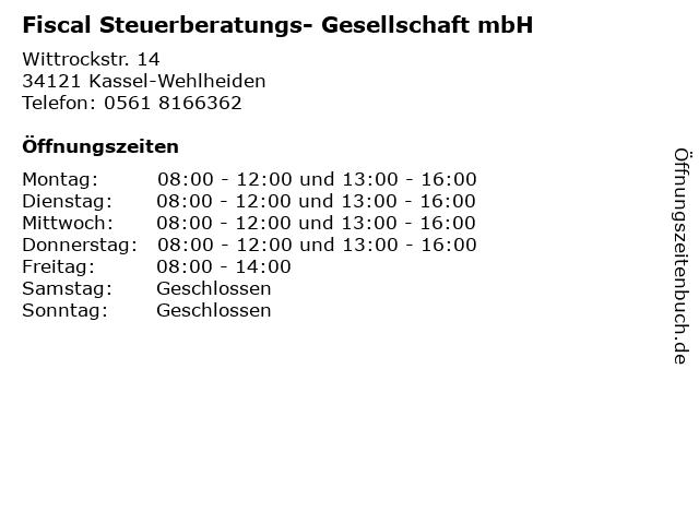 Fiscal Steuerberatungs- Gesellschaft mbH in Kassel-Wehlheiden: Adresse und Öffnungszeiten