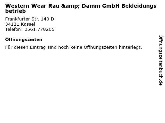 Western Wear Rau & Damm GmbH Bekleidungsbetrieb in Kassel: Adresse und Öffnungszeiten