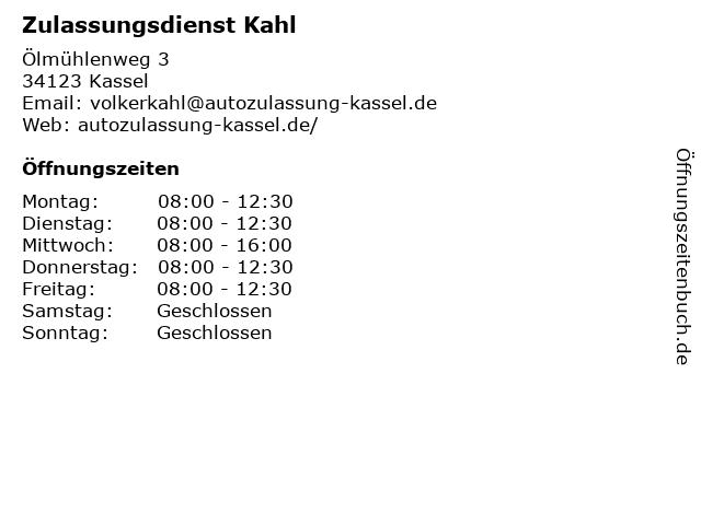 Zulassungsdienst Kahl in Kassel: Adresse und Öffnungszeiten
