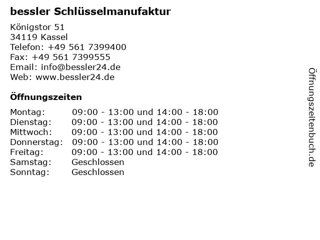 bessler Schlüsselmanufaktur in Kassel: Adresse und Öffnungszeiten