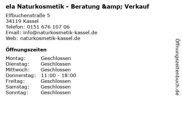 ela Naturkosmetik - Beratung & Verkauf in Kassel: Adresse und Öffnungszeiten