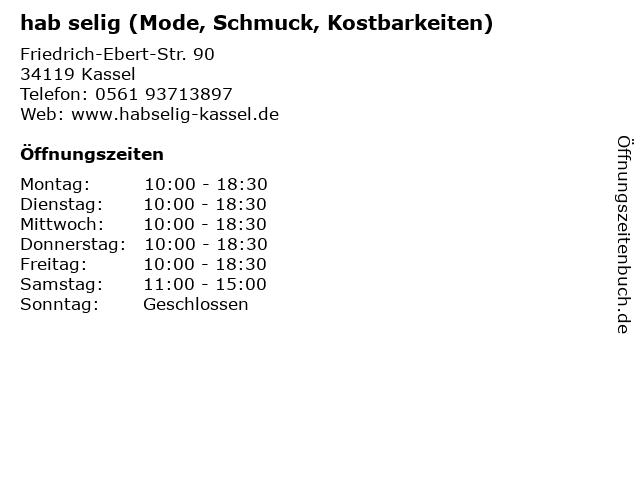 hab selig (Mode, Schmuck, Kostbarkeiten) in Kassel: Adresse und Öffnungszeiten