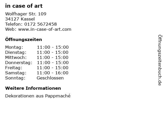 in case of art in Kassel: Adresse und Öffnungszeiten