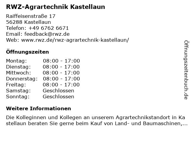 RWZ-Agrartechnik Kastellaun in Kastellaun: Adresse und Öffnungszeiten