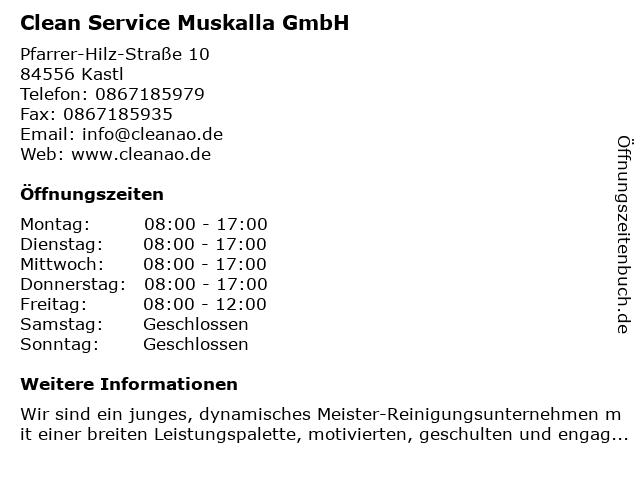 Clean Service Muskalla GmbH in Kastl: Adresse und Öffnungszeiten
