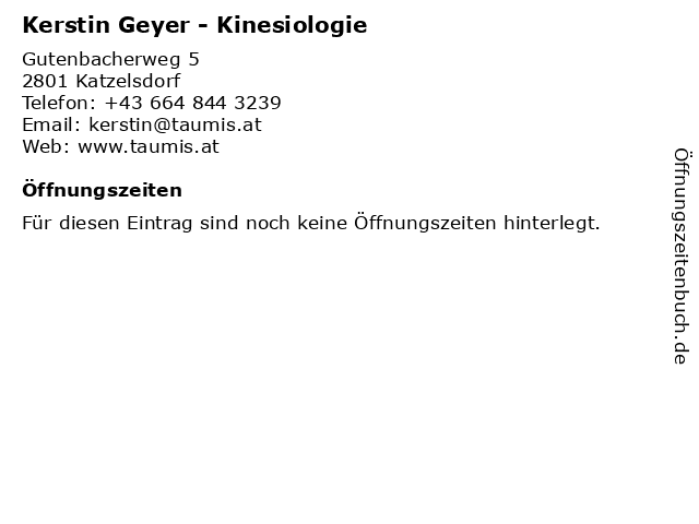 Kerstin Geyer - Kinesiologie in Katzelsdorf: Adresse und Öffnungszeiten