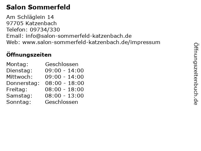 Salon Sommerfeld in Katzenbach: Adresse und Öffnungszeiten