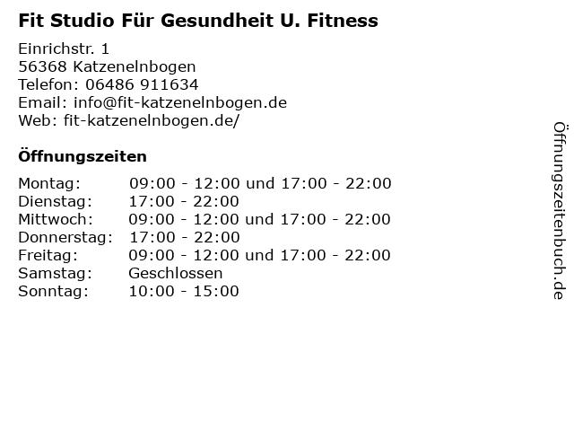 Fit Studio Für Gesundheit U. Fitness in Katzenelnbogen: Adresse und Öffnungszeiten