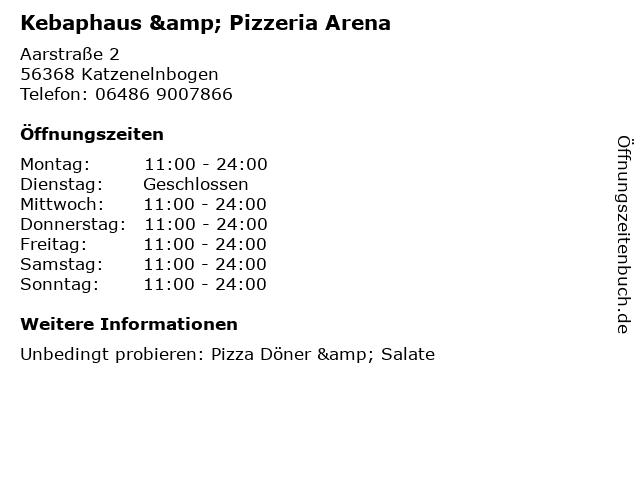 Kebaphaus & Pizzeria Arena in Katzenelnbogen: Adresse und Öffnungszeiten
