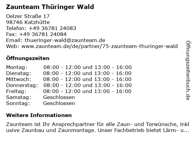 Zaunteam Thüringer Wald in Katzhütte: Adresse und Öffnungszeiten