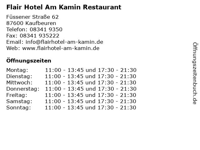 Flair Hotel Am Kamin Restaurant in Kaufbeuren: Adresse und Öffnungszeiten