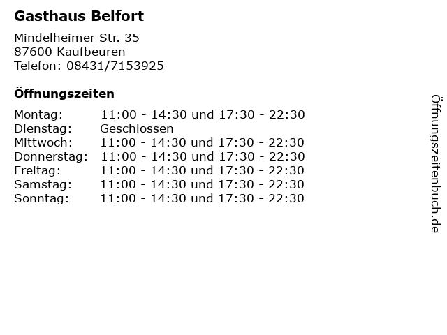 Gasthaus Belfort in Kaufbeuren: Adresse und Öffnungszeiten