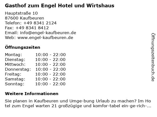 Gasthof zum Engel Hotel und Wirtshaus in Kaufbeuren: Adresse und Öffnungszeiten