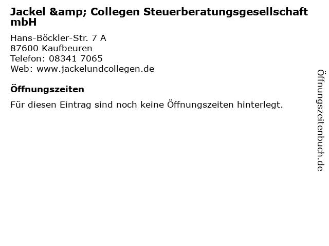 Jackel & Collegen Steuerberatungsgesellschaft mbH in Kaufbeuren: Adresse und Öffnungszeiten