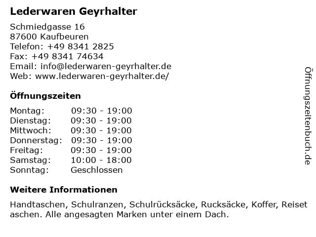 Lederwaren Geyrhalter in Kaufbeuren: Adresse und Öffnungszeiten