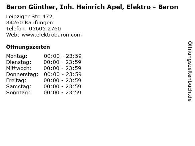 Baron Günther, Inh. Heinrich Apel, Elektro - Baron in Kaufungen: Adresse und Öffnungszeiten