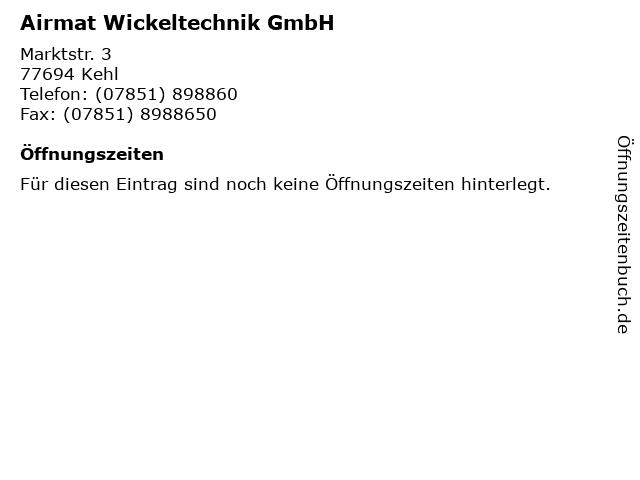 Airmat Wickeltechnik GmbH in Kehl: Adresse und Öffnungszeiten