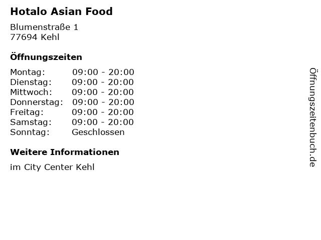 Hotalo Asian Food in Kehl: Adresse und Öffnungszeiten