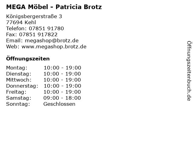 ᐅ öffnungszeiten Mega Möbel Patricia Brotz Königsbergerstraße