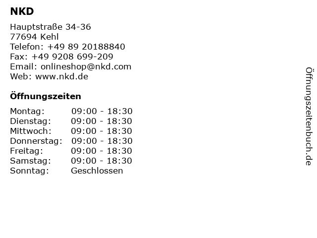 NKD in Kehl: Adresse und Öffnungszeiten
