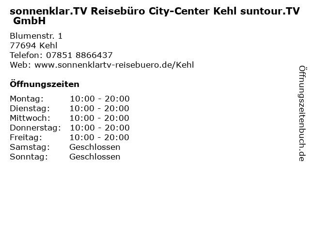 sonnenklar.TV Reisebüro City-Center Kehl in Kehl: Adresse und Öffnungszeiten