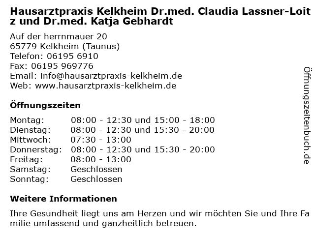 Hausarztpraxis Kelkheim Dr.med. Claudia Lassner-Loitz und Dr.med. Katja Gebhardt in Kelkheim (Taunus): Adresse und Öffnungszeiten