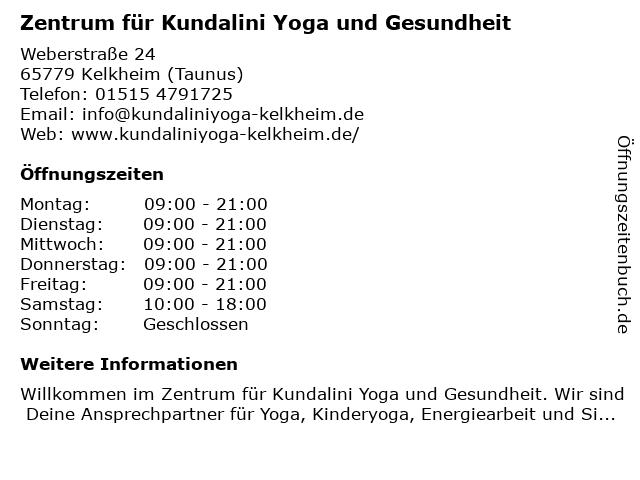 Zentrum für Kundalini Yoga und Gesundheit in Kelkheim (Taunus): Adresse und Öffnungszeiten