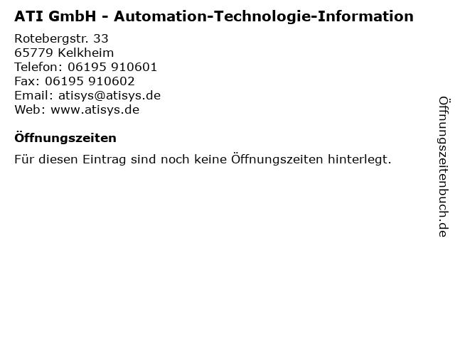 ATI GmbH - Automation-Technologie-Information in Kelkheim: Adresse und Öffnungszeiten
