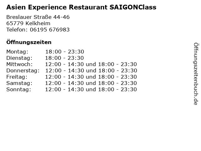 Asien Experience Restaurant SAIGONClass in Kelkheim: Adresse und Öffnungszeiten