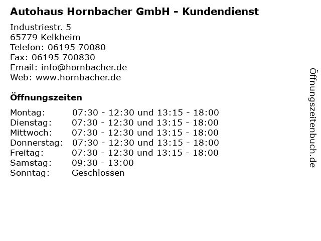 Autohaus Hornbacher GmbH - Kundendienst in Kelkheim: Adresse und Öffnungszeiten