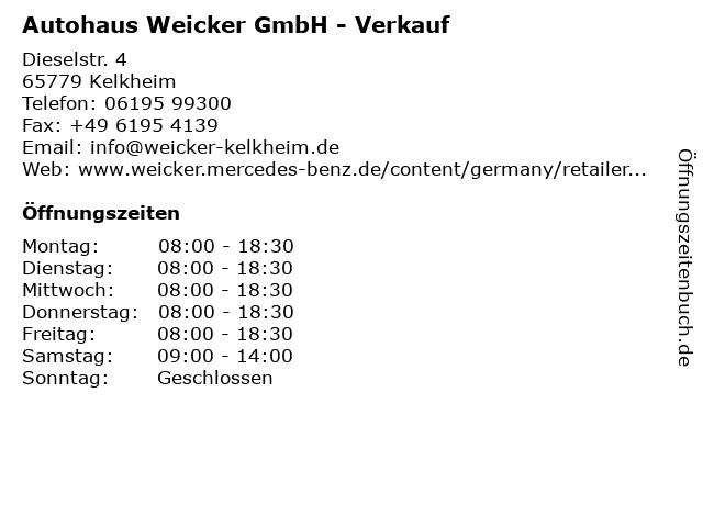 Autohaus Weicker GmbH - Verkauf in Kelkheim: Adresse und Öffnungszeiten