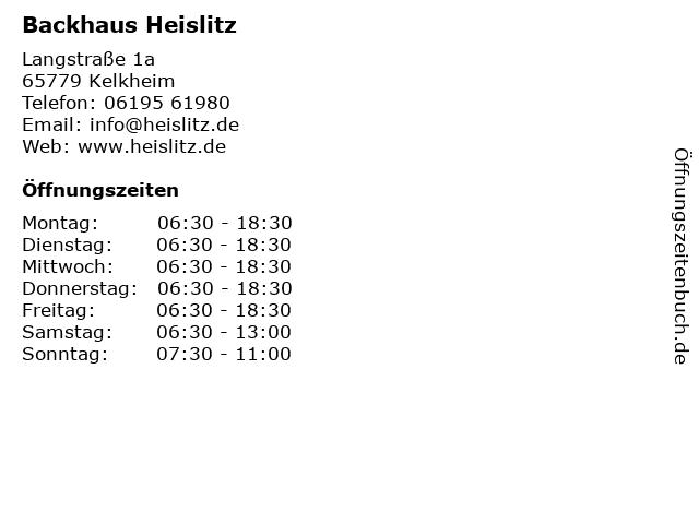 Backhaus Heislitz in Kelkheim: Adresse und Öffnungszeiten