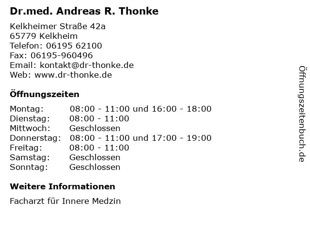 Dr.med. Andreas R. Thonke in Kelkheim: Adresse und Öffnungszeiten