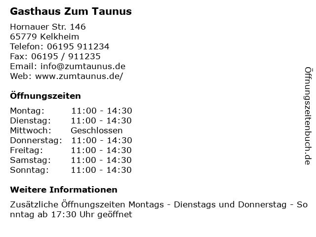 Gasthaus Zum Taunus in Kelkheim: Adresse und Öffnungszeiten