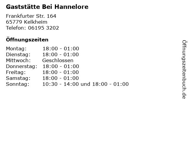 Gaststätte Bei Hannelore in Kelkheim: Adresse und Öffnungszeiten