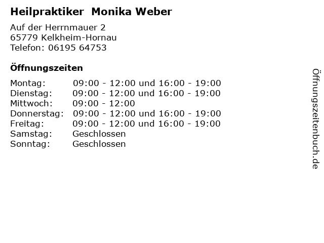 Heilpraktiker  Monika Weber in Kelkheim-Hornau: Adresse und Öffnungszeiten