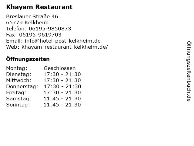 Khayam Restaurant in Kelkheim: Adresse und Öffnungszeiten