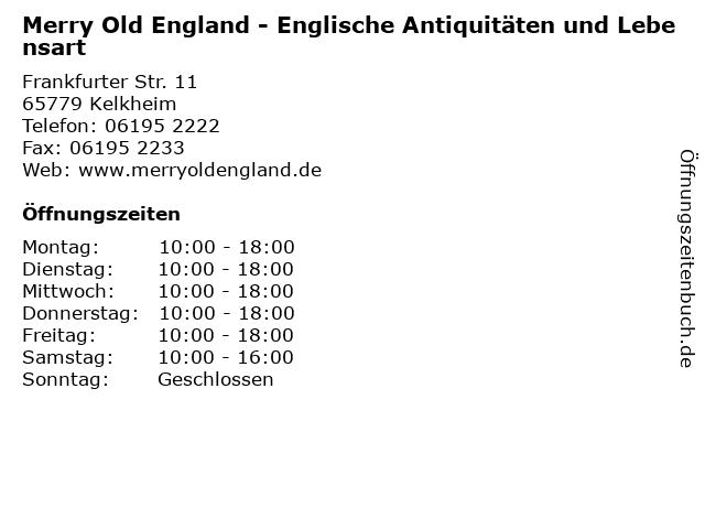 Merry Old England - Englische Antiquitäten und Lebensart in Kelkheim: Adresse und Öffnungszeiten