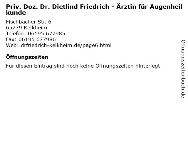 PD. Dr.med. Dietlind Friedrich in Kelkheim: Adresse und Öffnungszeiten