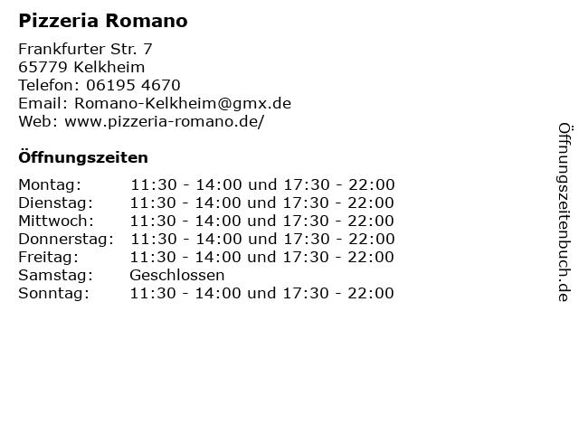 Pizzeria Romano in Kelkheim: Adresse und Öffnungszeiten