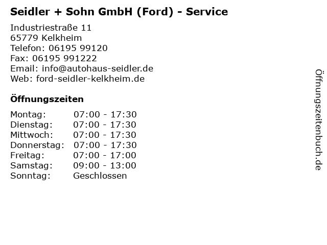 Seidler + Sohn GmbH (Ford) - Service in Kelkheim: Adresse und Öffnungszeiten