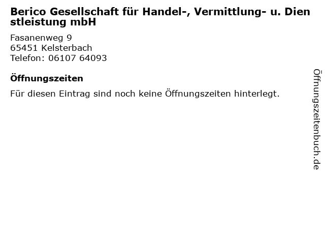 Berico Gesellschaft für Handel-, Vermittlung- u. Dienstleistung mbH in Kelsterbach: Adresse und Öffnungszeiten