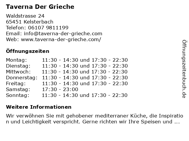 Taverna Der Grieche in Kelsterbach: Adresse und Öffnungszeiten