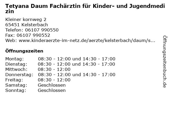 Tetyana Daum Fachärztin für Kinder- und Jugendmedizin in Kelsterbach: Adresse und Öffnungszeiten