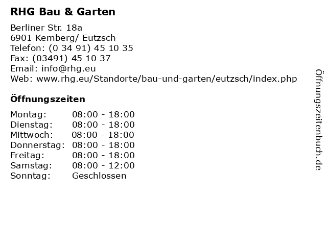 RHG Bau & Garten in Kemberg/ Eutzsch: Adresse und Öffnungszeiten