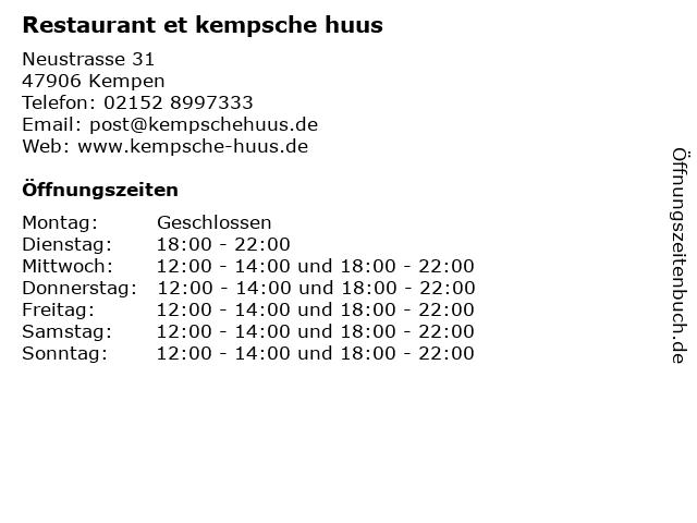 Restaurant et kempsche huus in Kempen: Adresse und Öffnungszeiten
