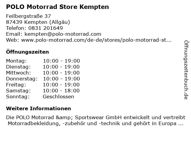 POLO Motorrad Store Kempten in Kempten (Allgäu): Adresse und Öffnungszeiten